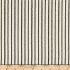 Magnolia Home Fashions Berlin Ticking Stripe Black from @fabricdotcom  Screen printed on cotton duck; this versatile, medium weight fabric is perfect for window treatments (draperies, valances, curtains and swags), accent pillows, duvet covers and upholstery. Colors include black and cream.