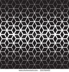 Vector Seamless Black And White Star Geometric Halftone Gradient Line Pattern Abstract Background
