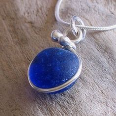 Natural Sea Glass Sterling Silver Inlay Bezel Petite Pendant Necklace Rare Cobalt Blue (206)