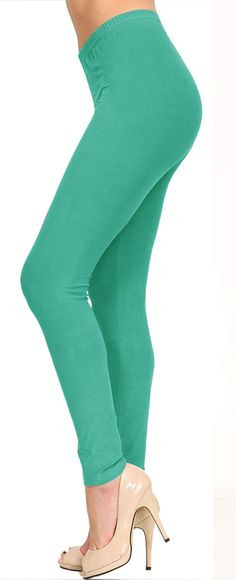 Solid Brushed Leggings VP103-Dark Mint