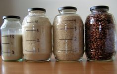 Draw measurements on clear food storage for fast measure-free cooking. Forget the measuring cups, youve got all the info right there! Just In Case, Just For You, Recycled Jars, Jar Labels, Food Storage, Storage Jars, Storage Containers, Storage Ideas, Freezer Containers