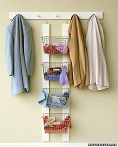 Winter-Wear Organizer    Avoid mismatched gloves and misplaced scarves by keeping each family member's cold-weather gear in individual wire gym baskets. Can anyone find the original link for this?