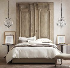 Carved Door Headboard from RH (There are many old doors/shutters that would make a great headboard)