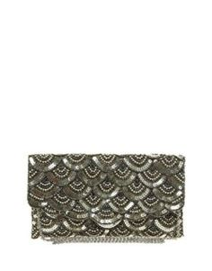 New Look Sweetie Scallop Beaded Clutch Bag at asos.com