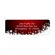 Red and White Snow Holiday Address Labels