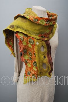 Extraordinary hand felted scarf OOAK wearable by sassafrasdesignl