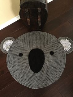 Crochet koala rug by PeanutButterDynamite on Etsy