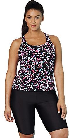 Aquabelle Womens Plus Size Chlorine Resistant Racerback Long Bike Shortini 20 Multi >>> For more information, visit image link. Sexy Outfits, Cute Outfits, Womens Tankini, Maternity Swimwear, Beach Attire, Summer Swimwear, Plus Size Swimwear, Swim Dress, Plus Size Women