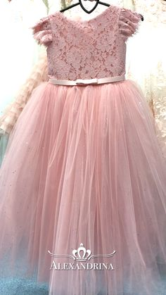 Flower girl dress for a wedding, birthday or any special day. Luxury pageant dresses by Alexandrina Baby Birthday Dress, Baby Girl Party Dresses, Little Girl Dresses, Flower Girl Dresses, Lace Flower Girls, Gowns For Girls, Frocks For Girls, Girls Dresses, Dresses Dresses