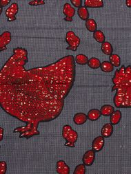 Red hen wax print from African premier fabrics. cute!