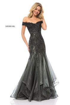 cf1efb853f Beaded off-the-shoulder bodice with tulle mermaid skirt Prom Dress Couture