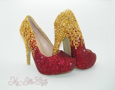 Gold and Red rhinestone two tone ombre high heels Indian bride Asian wedding Religious Ceremony Bridesmaids Muslim Custom Bridal Shoes Party Bridal Heels, Wedding Heels, Bling Heels, Gold Heels, Religious Ceremony, Red Rhinestone, Blue Glitter, Mother Of The Bride, Muslim