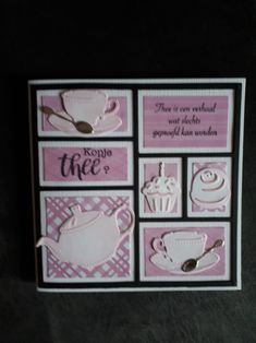 Gemaakt door Hella Coolen: letterbak kaart thee 50th Birthday Cards, Birthday Cards For Women, Marianne Design Cards, Coffee Cards, Tea Party, Card Making, Paper Crafts, Layout, Stamp
