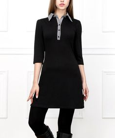 Black Collared Button-Front Dress #zulily #zulilyfinds