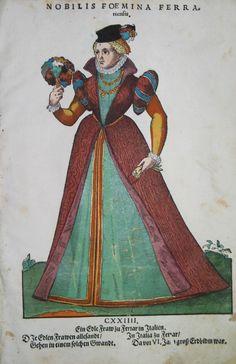 """Contemporary coloured wood-cut image of a costume from """"Habitus praecipuorum populorum, tam virorum quam foeminarum Singulari arte depicti. Trachtenbuch: Darin fast allerley und der fürnembsten Nationen"""", published in Nuerenberg in 1577."""