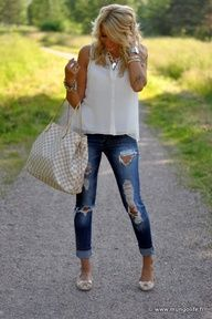 ripped jeans with girly tops and jewelry...my favorite