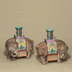 A pair offamille rosecaparisoned elephants, Qianlong period (1736-1795)