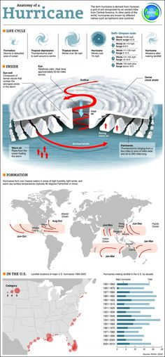 Cool infographic on the anatomy of a hurricane. A great starter for a unit on the environment, weather or natural disasters. Weather Science, Weather Unit, Weather And Climate, Teaching Weather, Earth And Space Science, Science And Nature, Science Fair, Teaching Science, Hurricane Preparedness