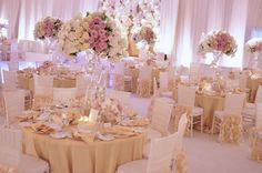 Beautiful Ivory and Blush Pink Table