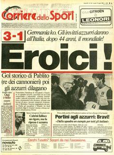 11 luglio 1982: Italia Campione del Mondo per la terza volta! Gli azzurri di Bearzot battono per 3-1 in finale la Germania. Il Corriere dello Sport stabilisce un record storico di tiratura per la stampa italiana: 1.695.966 copie!