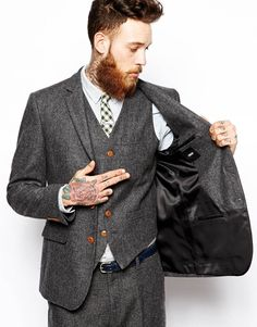 Grey Tweed Suit-you gonna wear a beard like that?!