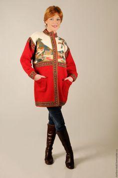 "Handmade Sirogojno Style handknitted wool jacket from Serbia ""Zlatibor motifs"""