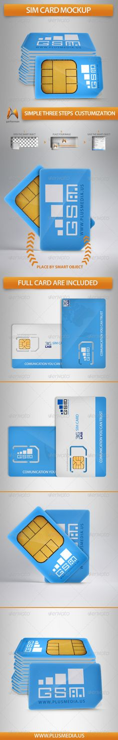 Sim Card Mockup  #GraphicRiver         Introducing a photo realistic Sim Card Mockup for use on any web or print project.  	 Layered photoshop file, transparent background.  	 Very easy to customize, open the smart object place your design and save for enjoy.  	 Features  	 - This pack contains 6 PSD files with a similar settings in the layers this makes it  easy to customize - Photo-realistic 100% photoshop - Changing perspectives and layer masking are not needed simply place your design…
