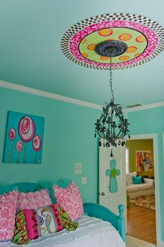 Ravishing Turquoise Girls Room Ideas Image Decor in Kids Eclectic design ideas with Ravishing black chandelier ceiling medallion crystal chandelier Custom Bedding day bed funky tween