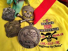 Gasparilla medals: Beck's light challenge, half marathon, 5k, 15k. #bling #fitfluential