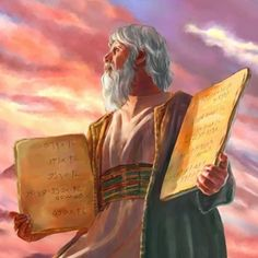 Moses holds the two stone tablets with the Ten Commandments