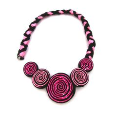Pink Flower Choker Bib Necklace, Statement Necklace, Floral Accessories, Pink Rose Necklace by FabricTwist on Etsy