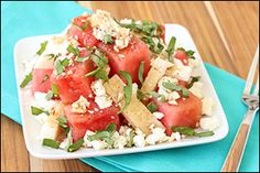 Hungry Girl's Happy Jicama Watermelon Salad- I think I might substitute the watermelon for tomatoes. Mmmm!