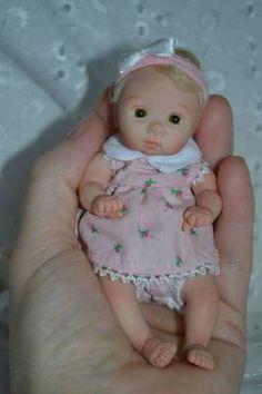"Original Art OOAK Polymer Clay baby doll girl 4.5"" Piper  by Yulia Shaver"