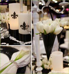 Decorazioni nozze con calle e tulipani bianco e nero