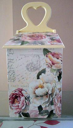 Vintage box Rose decorative vintage wood napkin by limaartdesign