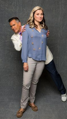 Bruce Campbell andd Lucy Lawless - The L.A. Times Comic-Con studio