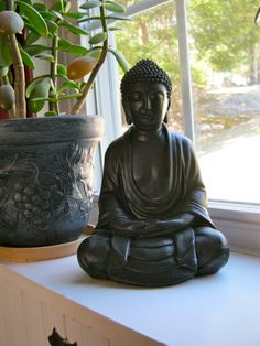 Buddha Statue Meditating Black Buddhist by WestWindHomeGarden