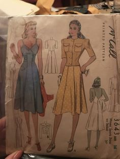 McCall 3643: Misses' sports dress and jacket pattern from 1940