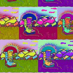 TAKE OFF YOUR SHOES AND WATCH SUNSET MULTICOLOR fabric by paysmage on Spoonflower - custom fabric
