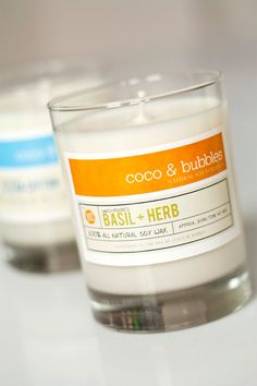 BASIL and HERB // Natural Soy Candle // 13 oz // Highly Scented - Beautiful Packaging! Wow!