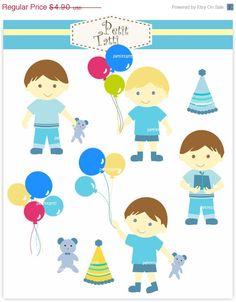 ON SALE Boy clip art - instant download Digital clip art, boys clipart , Blue boys clip art