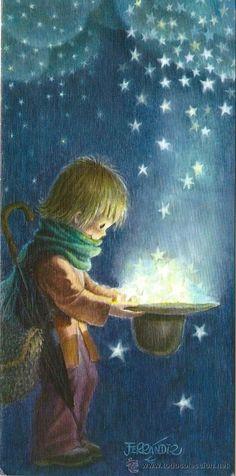 0848E - ORIGINAL FERRANDIZ - (LLUVIA DE ESTRELLAS) EDICI. SUBI SERIE L.1835.1 - DIPTICA 21,5X10,3 CM (Postales - Dibujos y Caricaturas) Illustrator, Beautiful Fairies, Moon Art, Whimsical Art, Cute Illustration, Christmas Art, Stars And Moon, Vintage Postcards, Cute Pictures