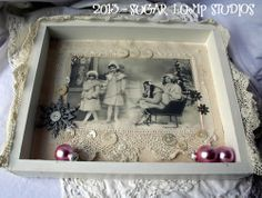 shabby altered  boxes | Winter Wonderland Altered Fabric Collage Box — Sugar Lump Studios ...