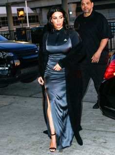 Kim+Kardashian+Just+Wore+a+Silk+Gown+to+the+Airport+via+@WhoWhatWear