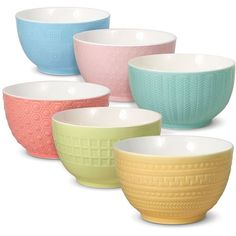 Gourmet Basics Jardin Set of 6 Cereal Bowls (88 TND) ❤ liked on Polyvore featuring home, kitchen & dining, dinnerware, colored dinnerware, ice cream bowl, floral dinnerware, floral bowl and fruit salad bowl