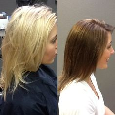Before and after. Colored with redken Chromatics! A beautiful change for the fall! I love this hair color