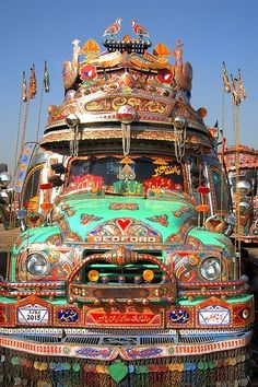 """Pakistani Bus Art...might be a fun lesson, where kids design an """"art bus""""...maybe a beginning of school activity?"""