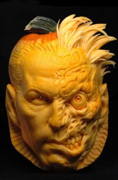 Two Face from Batman Pumpkin Sculpture/Carving by Ray Villafane