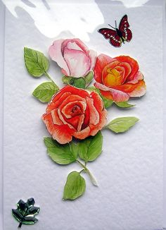 Rose HandCrafted 3D Decoupage Card  Blank for by SunnyCollectables, £1.50
