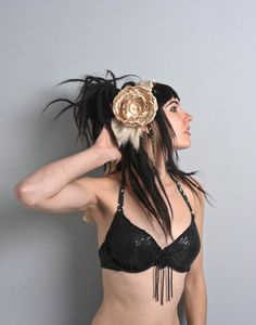 Handmade one of a kind tribal fusion bellydance headband. Beautiful cream satin headband with two large roses, cowri shells,coins,feathers and chains. It has two ribbons to bind together. Also lovely for fashion shoot or peformance. For sale here and more pictures! https://www.etsy.com/listing/105866178/tribal-fusion-bellydance-flower?ref=shop_home_active €45.00, Feeora Fatale